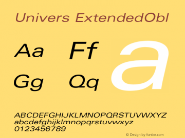 Univers ExtendedObl Version 001.001 Font Sample