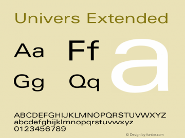 Univers Extended Version 001.001 Font Sample