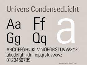 Univers CondensedLight Version 001.002 Font Sample