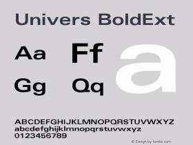 Univers BoldExt Version 001.001 Font Sample