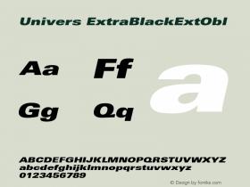 Univers ExtraBlackExtObl Version 001.001 Font Sample