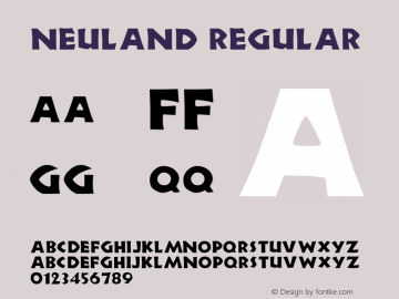 Neuland Regular Altsys Fontographer 3.5  11/18/92 Font Sample