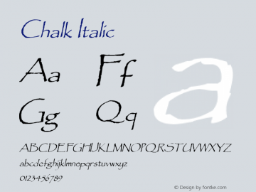 Chalk Italic 1.0/1995: 2.0/2001 Font Sample