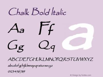 Chalk Bold Italic 1.0/1995: 2.0/2001 Font Sample