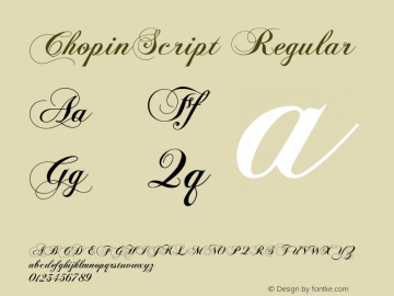 ChopinScript Regular Version 1.2 Font Sample