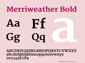 Merriweather Bold Version 1.287 Font Sample