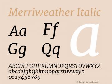 Merriweather Italic Version 1.001; ttfautohint (v0.93.8-669f) -l 7 -r 28 -G 0 -x 13 -w