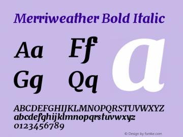 Merriweather Bold Italic Version 1.001 Font Sample