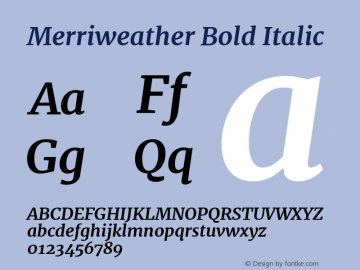 Merriweather Bold Italic Version 1.005 Font Sample
