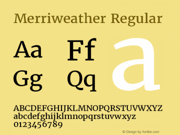 Merriweather Regular Version 1.005 Font Sample