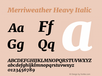 Merriweather Heavy Italic Version 1.001 Font Sample