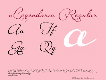 Legendaria Regular Version 1.000 2011 initial release Font Sample