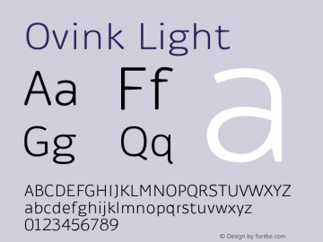 Ovink Light Version 1.0 Font Sample