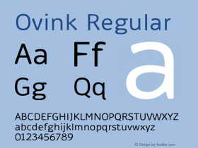 Ovink Regular Version 1.0 Font Sample