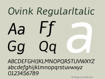 Ovink RegularItalic Version 1.0 Font Sample