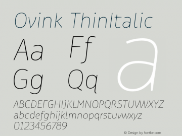 Ovink ThinItalic Version 1.0 Font Sample