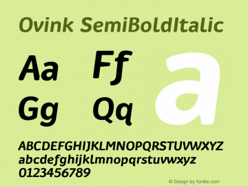 Ovink SemiBoldItalic Version 1.0 Font Sample