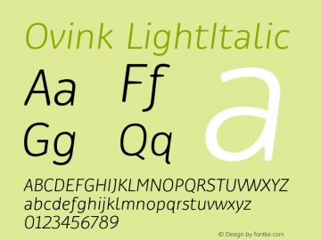 Ovink LightItalic Version 1.0 Font Sample