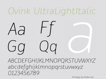 Ovink UltraLightItalic Version 1.0图片样张