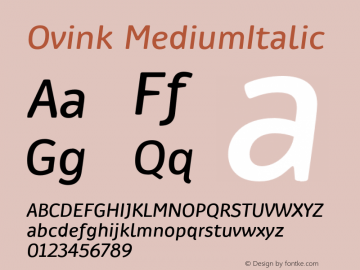 Ovink MediumItalic Version 1.0 Font Sample