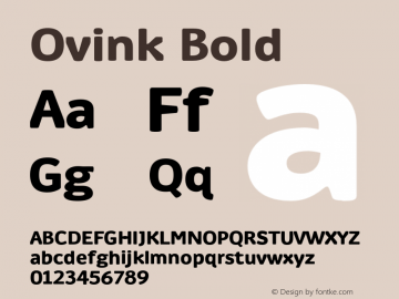 Ovink Bold Version 1.0 Font Sample