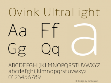 Ovink UltraLight Version 1.0 Font Sample