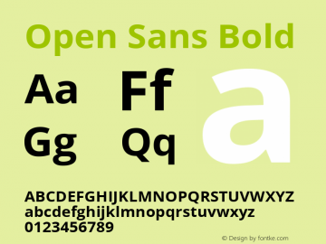 Open Sans Bold Version 1.10 Font Sample