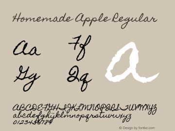 Homemade Apple Regular Version 1.000 Font Sample