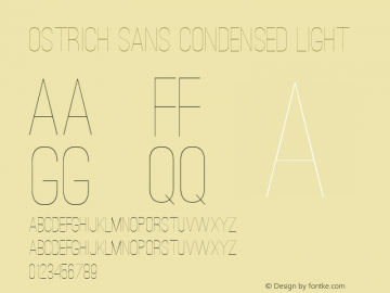 Ostrich Sans Condensed Light Version 1.000 Font Sample