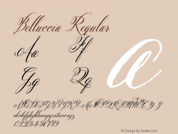 Belluccia Regular Version 1.000 Font Sample