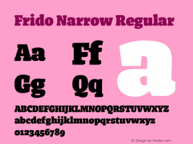 Frido Narrow Regular Version 2.002 Font Sample