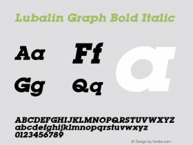 Lubalin Graph Bold Italic Altsys Fontographer 3.5  11/25/92 Font Sample