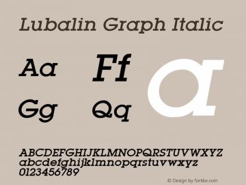 Lubalin Graph Italic Altsys Fontographer 3.5  11/25/92 Font Sample