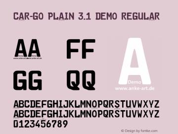 Car-Go Plain 3.1 Demo Regular Version 3.001 Font Sample