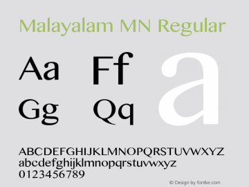 Malayalam MN Regular 7.0d3e1 Font Sample