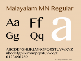 Malayalam MN Regular 7.0d4e1 Font Sample