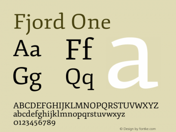 Fjord One Version 1.002 Font Sample
