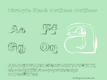 Distopia Black Outlines Outlines Version 1.02 - 23/11/2011 Font Sample