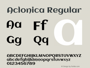 Aclonica Regular Version 1.000 Font Sample