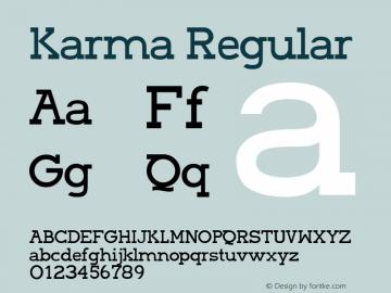 Karma Regular Version 001.000 Font Sample