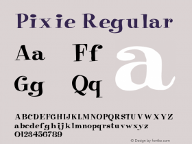 Pixie Regular Converted from e:\aff07\PIXIE.FF1 by ALLTYPE Font Sample