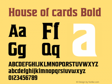 House of cards Bold Version 1.000 Font Sample
