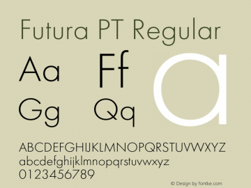 Futura PT Regular Version 1.007;com.myfonts.easy.paratype.futura-book.futura-light.wfkit2.version.43VE Font Sample