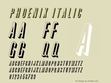 Phoenix Italic Altsys Fontographer 4.1 2/2/95 Font Sample