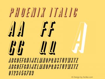 Phoenix Italic Altsys Fontographer 4.1 11/3/95 Font Sample
