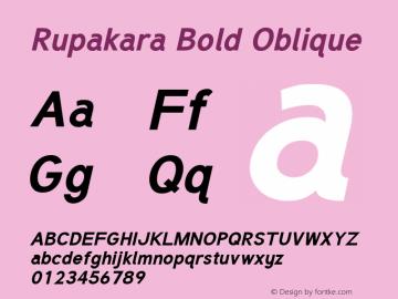 Rupakara Bold Oblique Version 1.004 Font Sample