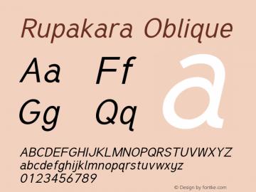 Rupakara Oblique Version 1.004 Font Sample