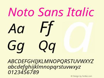 Noto Sans Italic Version 1.04 Font Sample