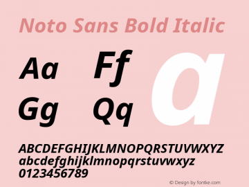 Noto Sans Bold Italic Version 1.04 uh Font Sample