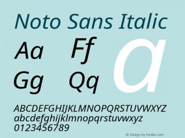 Noto Sans Italic Version 1.04 uh Font Sample